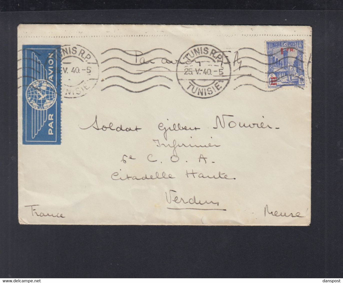 Frankreich France Tunisie Flugpost 1940 Tunis Nach Verdun - Briefe U. Dokumente