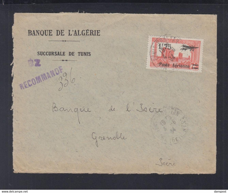 Frankreich France Tunisie R-Brief 1934 Tunis Nach Grenoble - Briefe U. Dokumente
