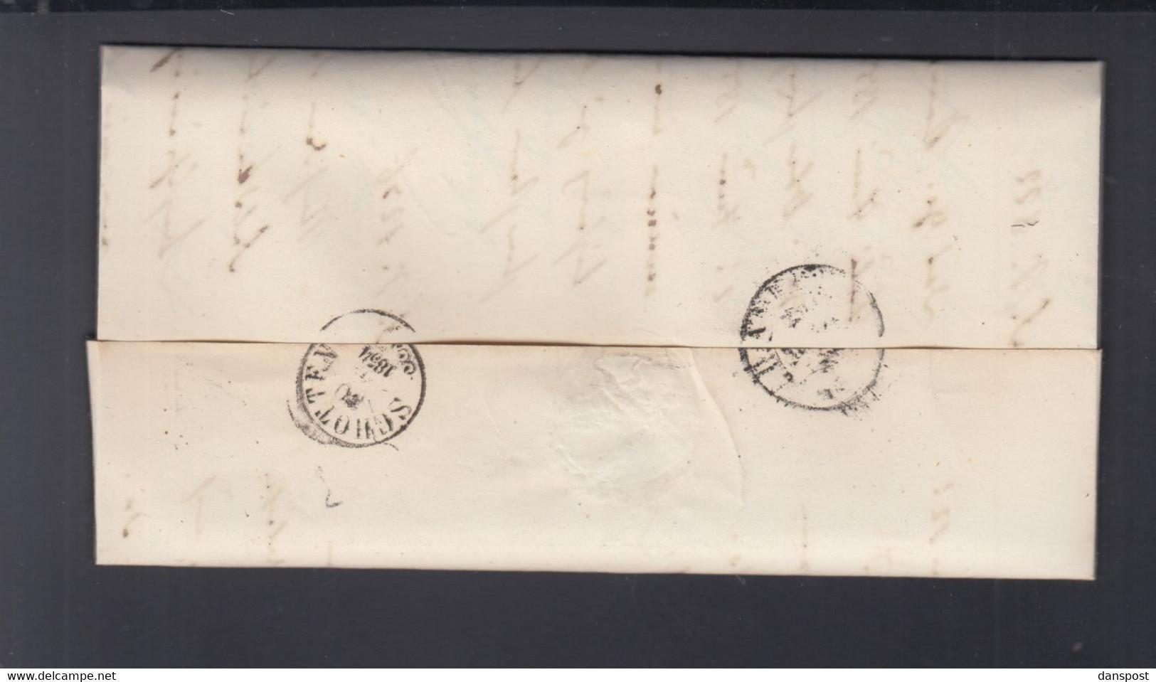 Faltbrief 1854 Ober-Forst-Domänen-Direktion Darmstadt - Thurn Und Taxis