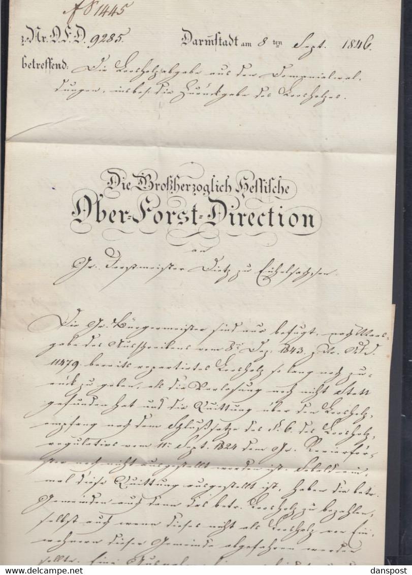 Faltbrief 1846 Ober-Forst-Domänen-Direktion Darmstadt - Vorphilatelie