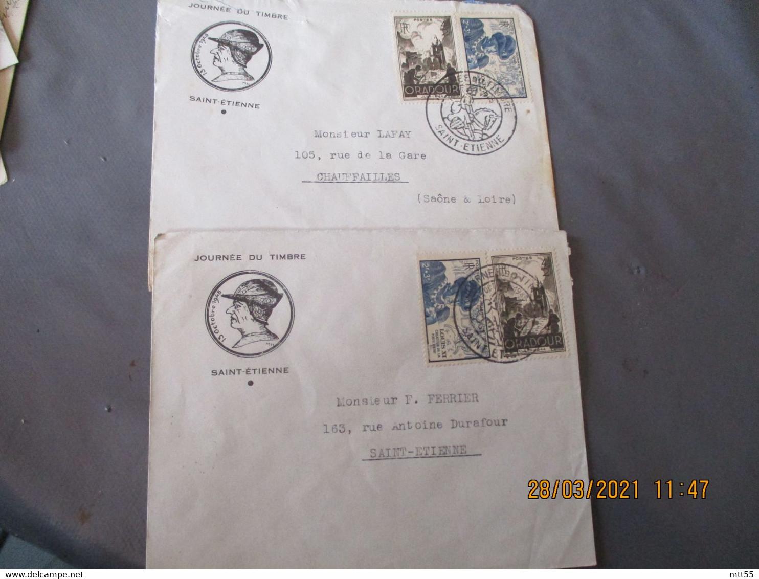 Lot De 2 Lettre Illustree Louis 11 , Saint Etienne Journee Timbre Timbre Louis 11 Et Oradour - 1921-1960: Moderne