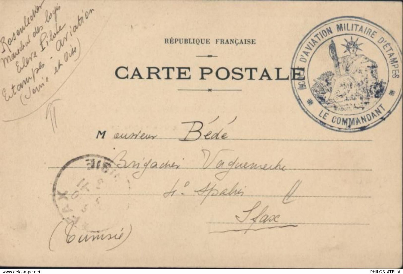Guerre 14 18 CP Avions En FM Cachet Ecole D'aviation Militaire D'Etampes Censure Vérifié à L'arrivée à Sfax Tunisie 1915 - WW I