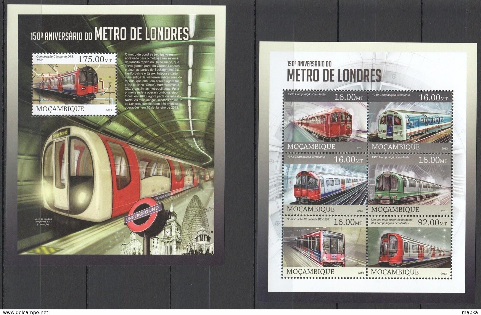 ST2607 2013 MOZAMBIQUE MOCAMBIQUE TRANSPORT TRAINS LONDON METRO UNDERGROUND SUBWAY KB+BL MNH - Trains