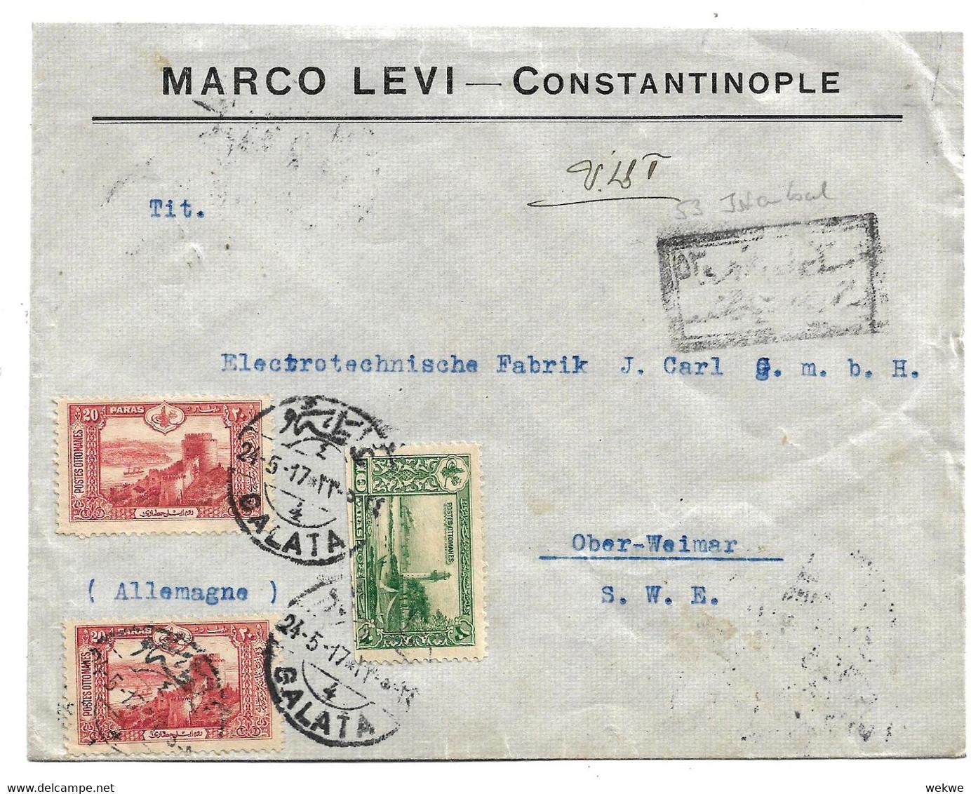 Tur171 / TÜRKEI - Zensierter Geschäftsbrief  Nach Ober-Weimar (Deutschland) - Brieven En Documenten