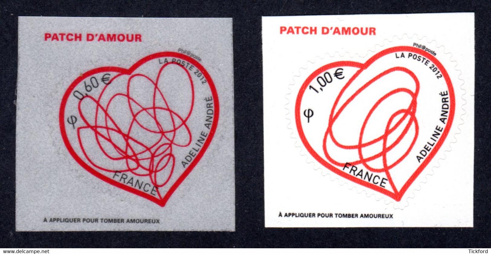FRANCE 2012 - Autoadhésifs Yvert N° 648/649 NEUFS, Saint-Valentin, Patch D'amour D'Adeline André, 2 Valeurs - Luchtpost