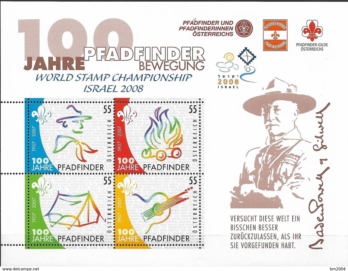 2007 Austria Mi. Bl. 36 **MNH   100 Jahre Pfadfinderbewegung Israel 2008 - 2001-10 Neufs