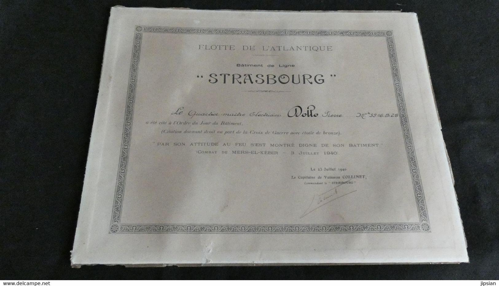 Citation Quartier Maître à Bord Bâtiment De Ligne Strasbourg Flotte De L' Atlantique Combat Mers El Kébir En1940 KX - Historical Documents