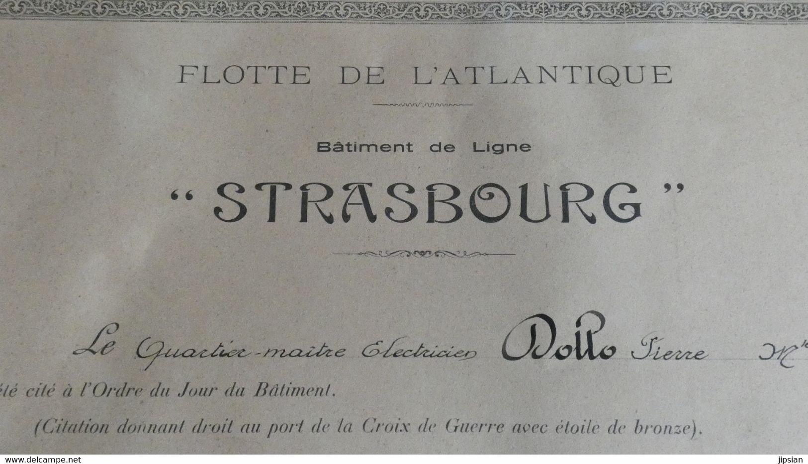 Citation Quartier Maître à Bord Bâtiment De Ligne Strasbourg Flotte De L' Atlantique Combat Mers El Kébir En1940 KX - Historische Dokumente