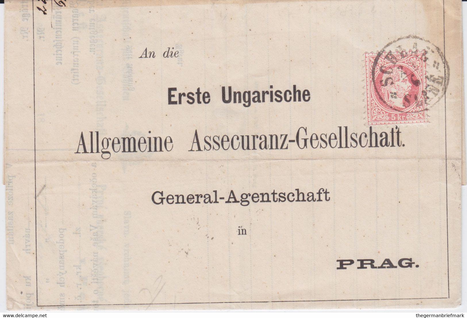Österreich Austria Mi 37 K1 Schlan Slane Böhmen Bf N Prag 1871 - Sin Clasificación