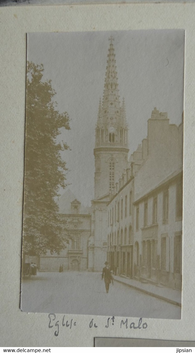 Lot De 9 Photos Originales C. 1900 Débarquement Dinard St Lunaire église St Malo St Servan Bateau Roue à Aube (13) KX - Old (before 1900)