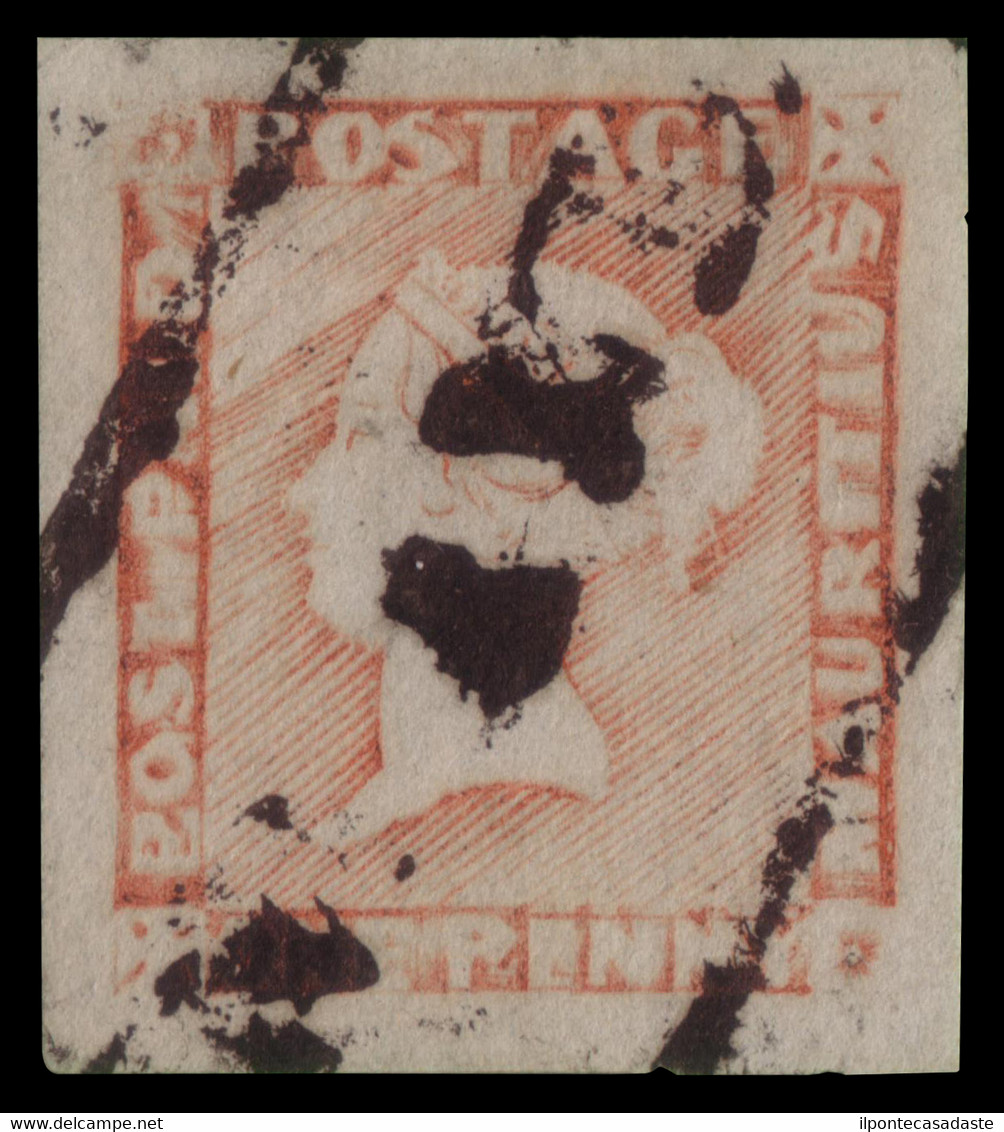 """Used] MAURITIUS 1848/1859   1d. Red """"POST PAID"""", Latest Impression   Signed A. Diena   Provenance:   The Romano Padoan C - Mauritius (...-1967)"""