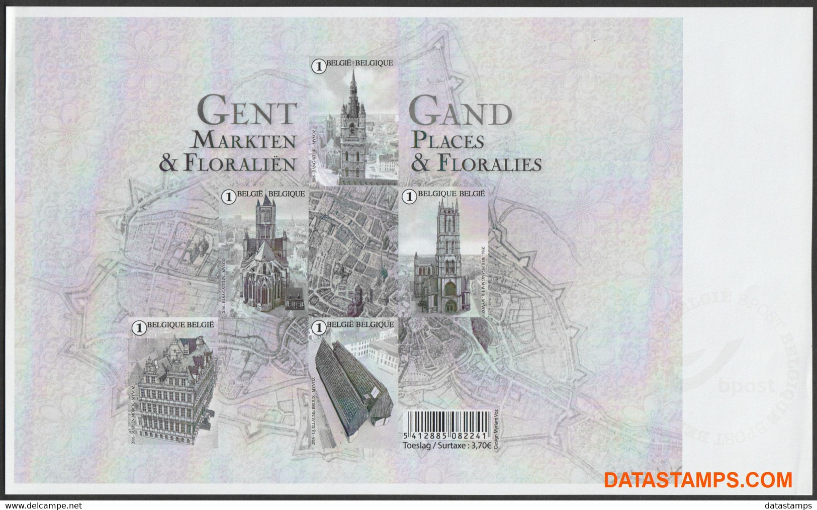 België 2016 - Mi:BL 199, Yv:F4553, OBP:BL 234, Black And White Sheet - XX - Ghent - Zwarte/witte Blaadjes
