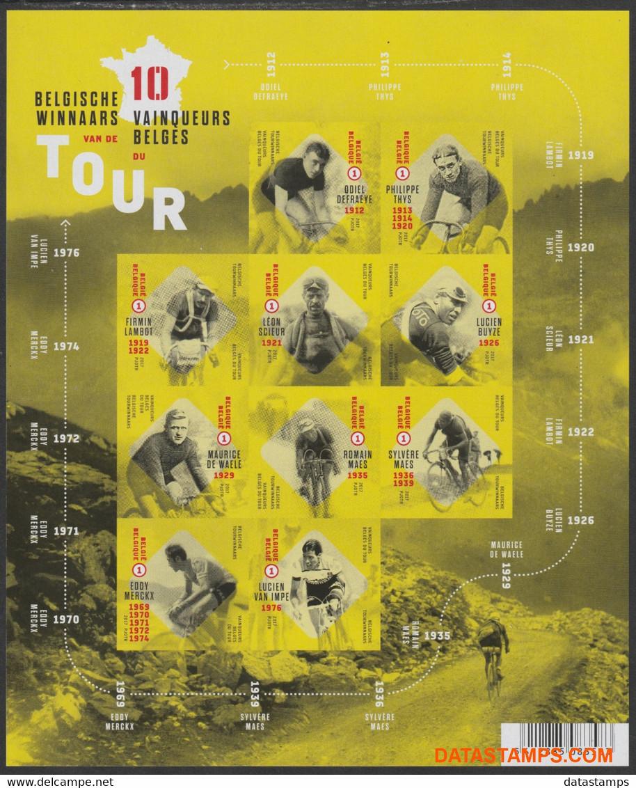 België 2017 - Mi:4743/4752, Yv:F4667, OBP:BL 252, Black And White Sheet - XX - Belgian Tour Winners - Zwarte/witte Blaadjes