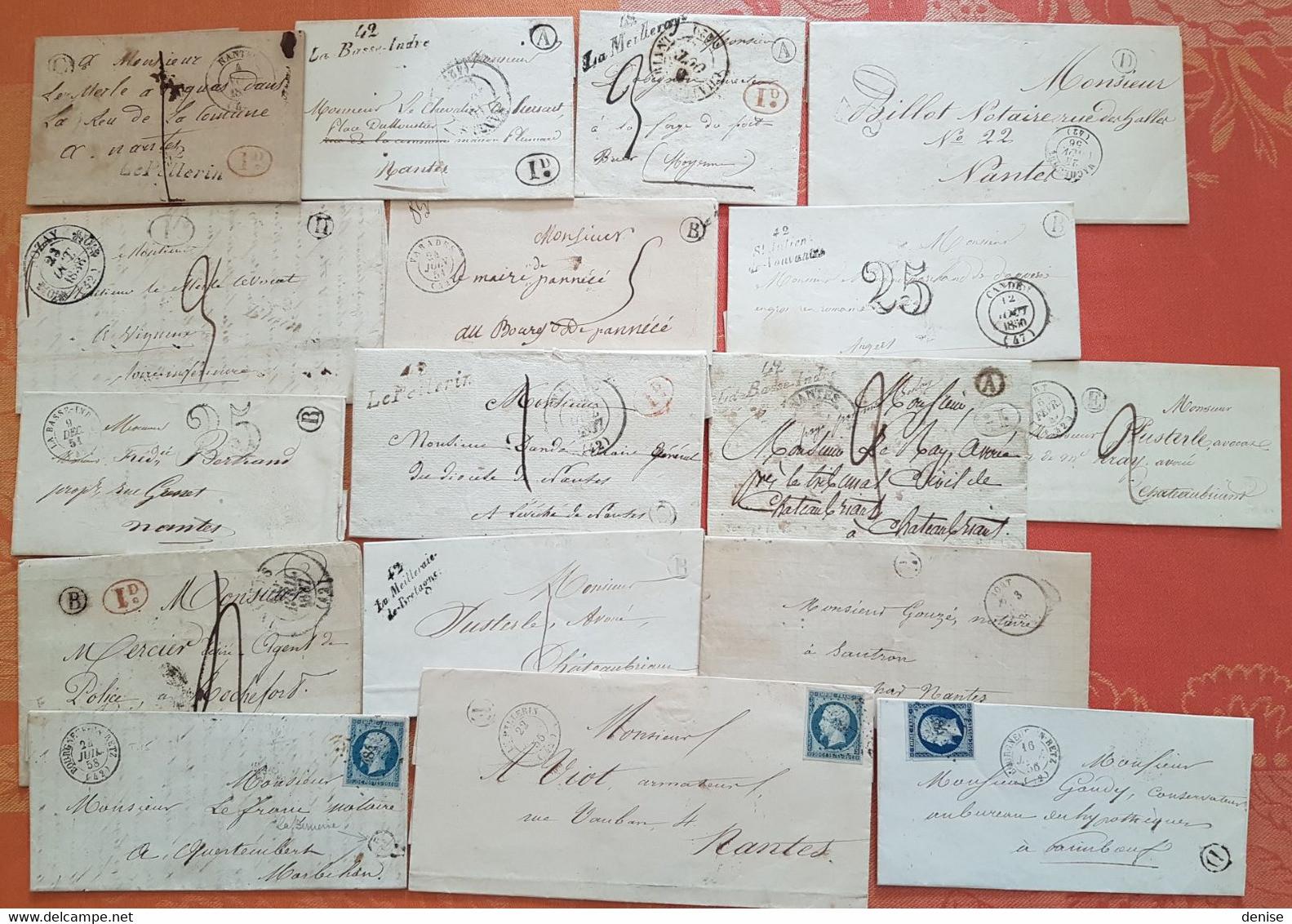 France - Lot De 17 Lettres De Loire Inférieure  Avec Cachets De Facteurs IDENTIFIES   - Depart 1 Euro - - 1801-1848: Voorlopers XIX