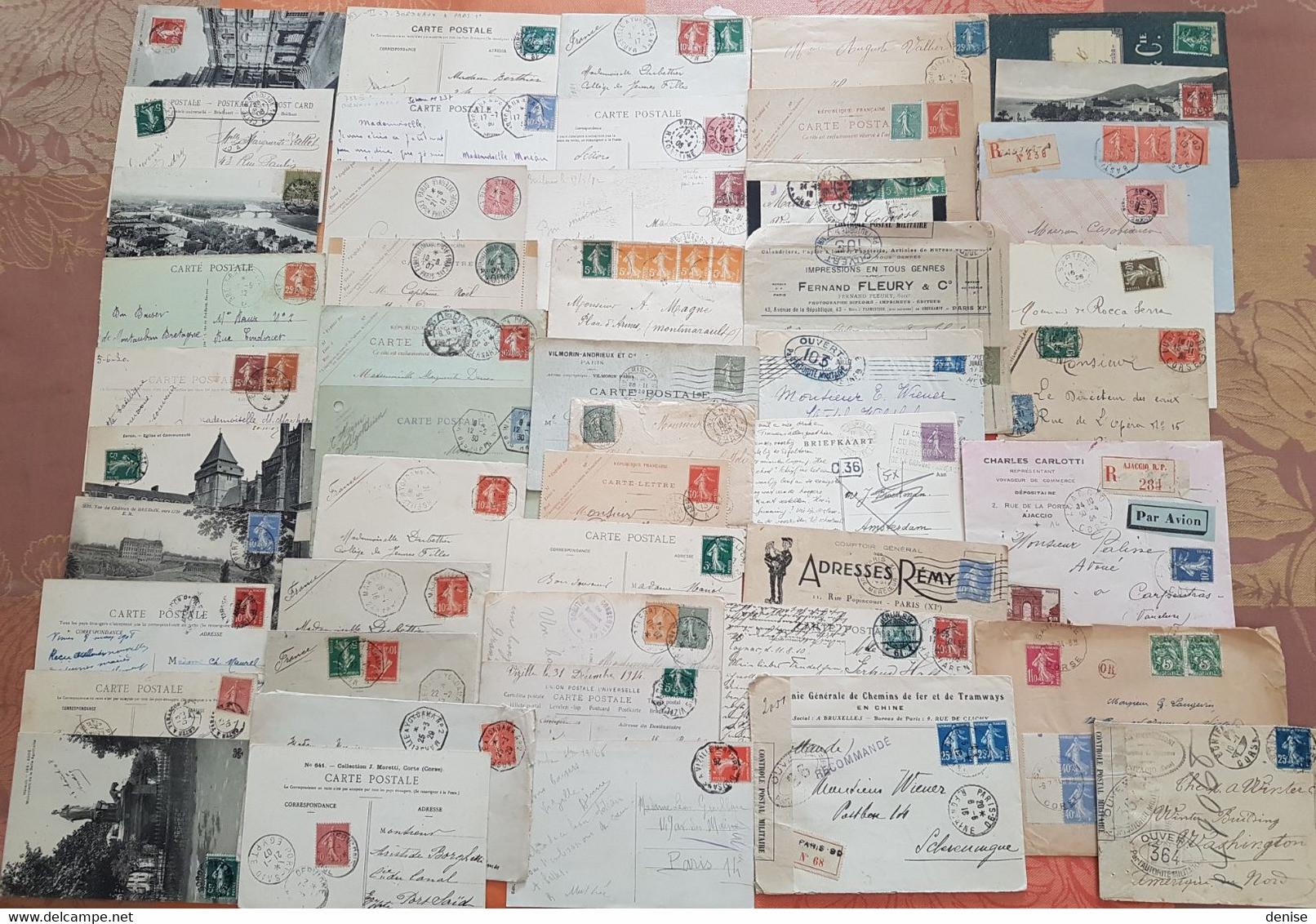 France - Lot De 50 Lettres Et Cartes Marcophiles - Depart 1 Euro - Toutes Avec Semeuses - 1877-1920: Période Semi Moderne