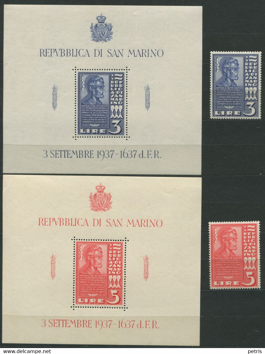 San Marino - 1938  Busto Abramo Lincoln MNH** - Nuovi