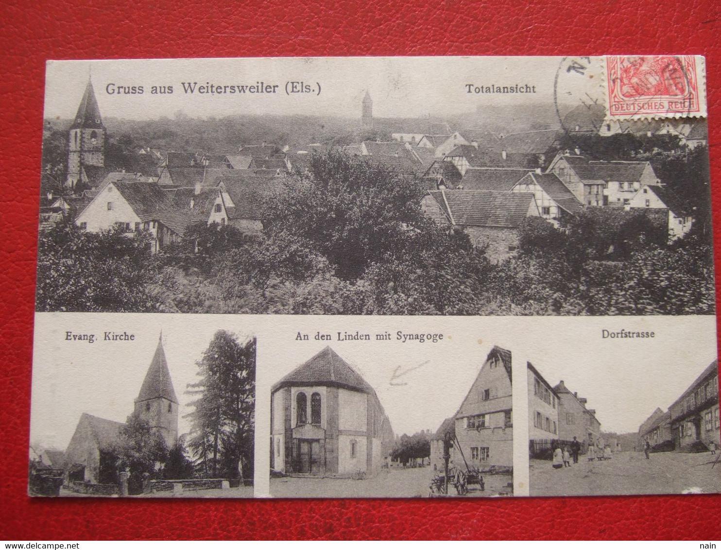 """67 - WEITERSWEILER - GRUSS AUS - """" SYNAGOGE - SYNAGOGUE """" - JUDAICA, JUIFS....  ------ """" TRES RARE """" ------- - Autres Communes"""