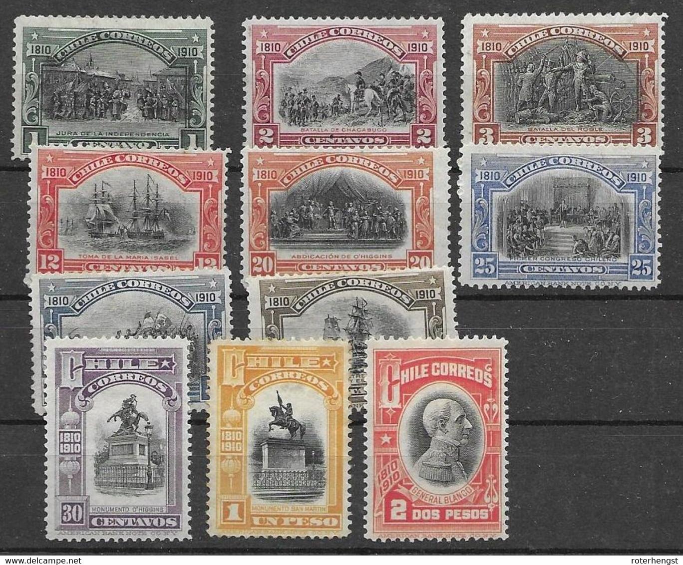 Chile 1910 Short Set 85 Euros Mh * - Chile