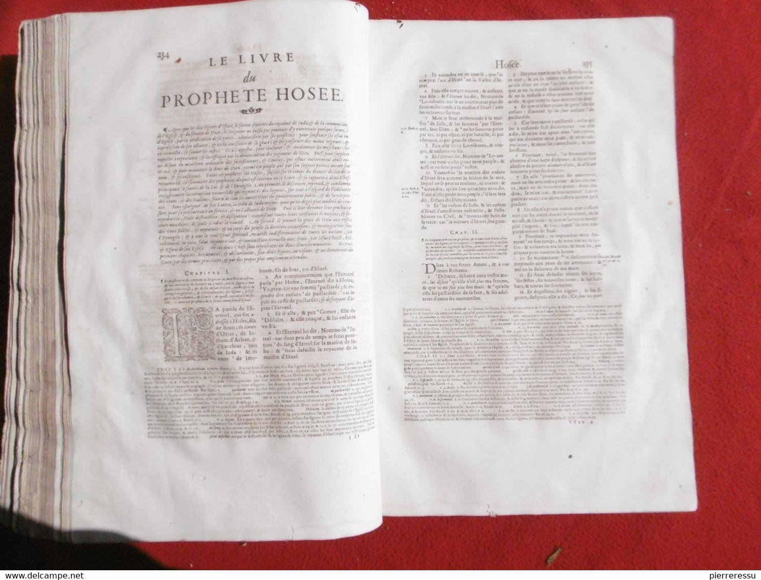 LA SAINTE BIBLE INTERPRETEE PAR JEAN DIODATI 1644 GENEVE PIERRE CHOUET RRRRRRRRRRRR - Christianismus