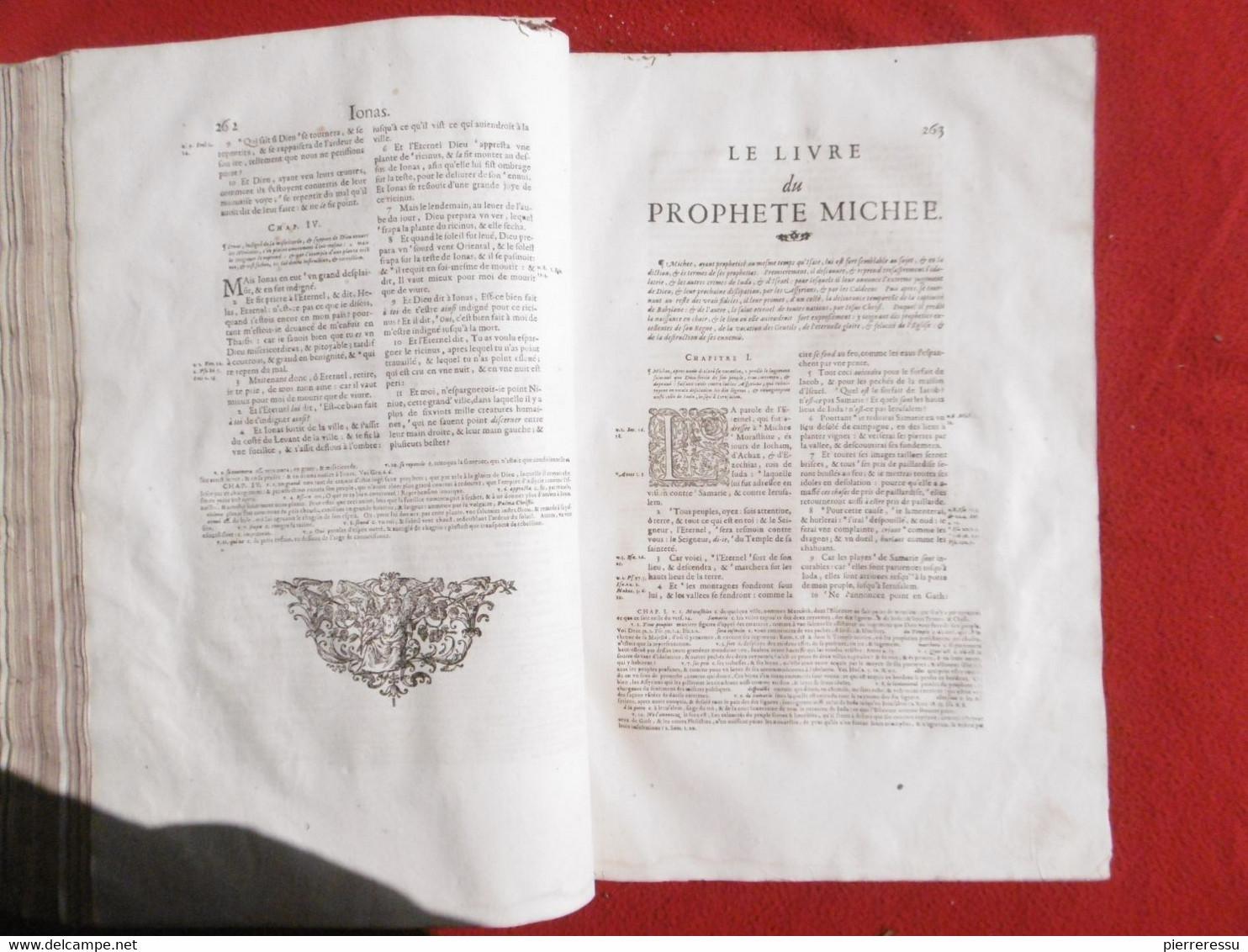 LA SAINTE BIBLE INTERPRETEE PAR JEAN DIODATI 1644 GENEVE PIERRE CHOUET RRRRRRRRRRRR - Bibbia, Cristianesimo
