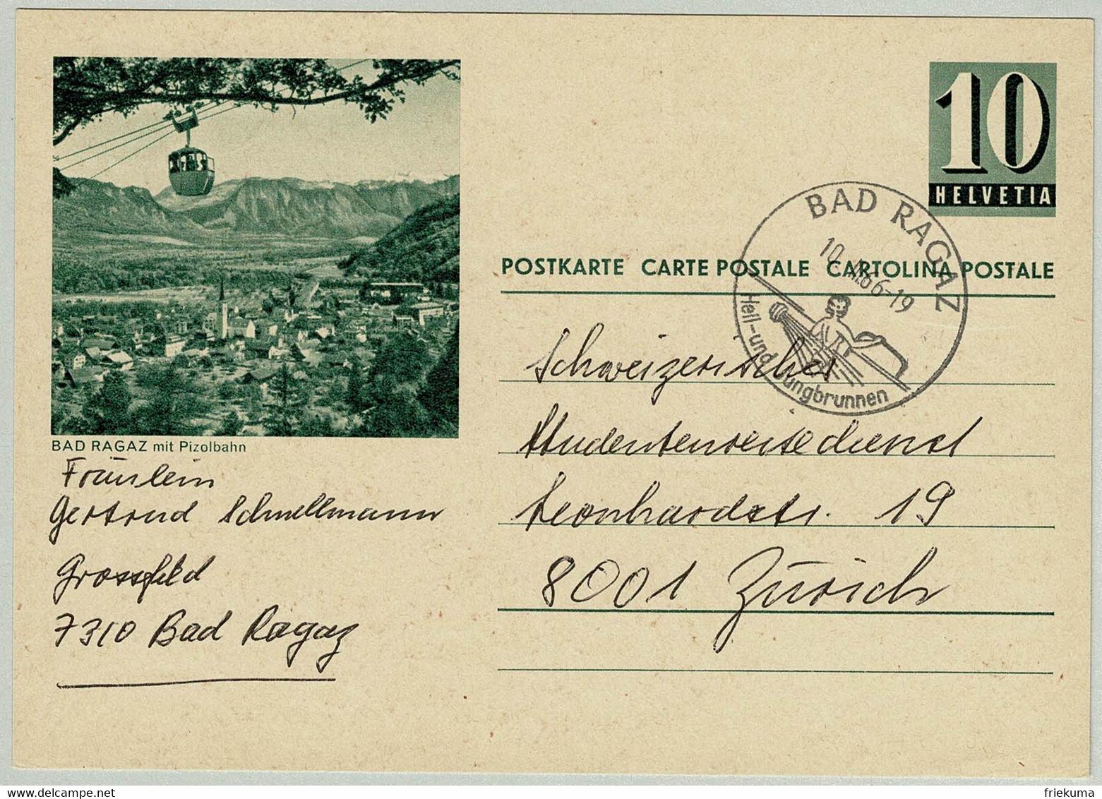 Schweiz / Helvetia 1966, Bildpostkarte Bad Ragaz Mit Pizolbahn Bad Ragaz - Zürich, Übereinstimmung Bild / Stempel - Hydrotherapy