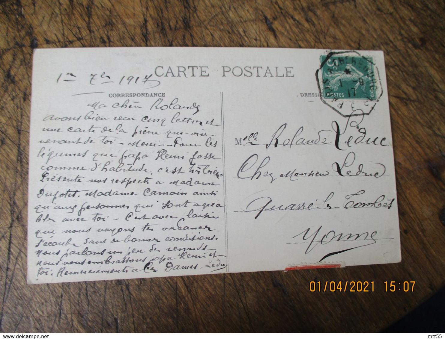 Cachet Octogonal Cherbourg A Paris 1 Er Ambulant Convoyeur Poste Ferroviaire - Bahnpost
