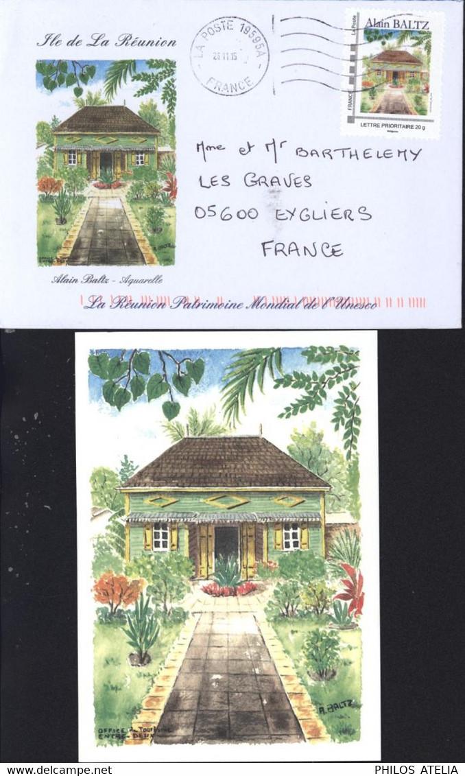Enveloppe + CP + Timbre Ile De La Réunion Alain Baltz Aquarelle La Poste 19595A 28 11 15 France Lettre Prioritaire 20g - 1961-....
