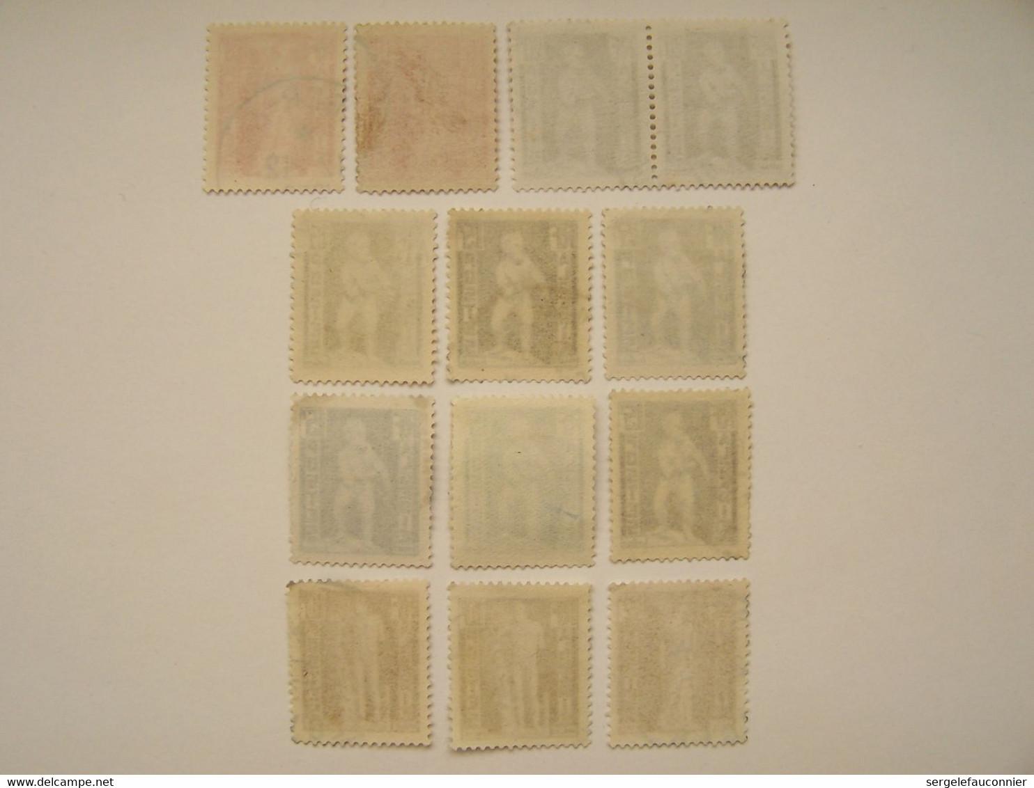 FRANCE ALGERIE FRANCAISE 1952 13 X Statuaire Antique D'Algérie, Oblitérés, Nuances Sur Les 15f Et Paire Pour Les 20f - Usati