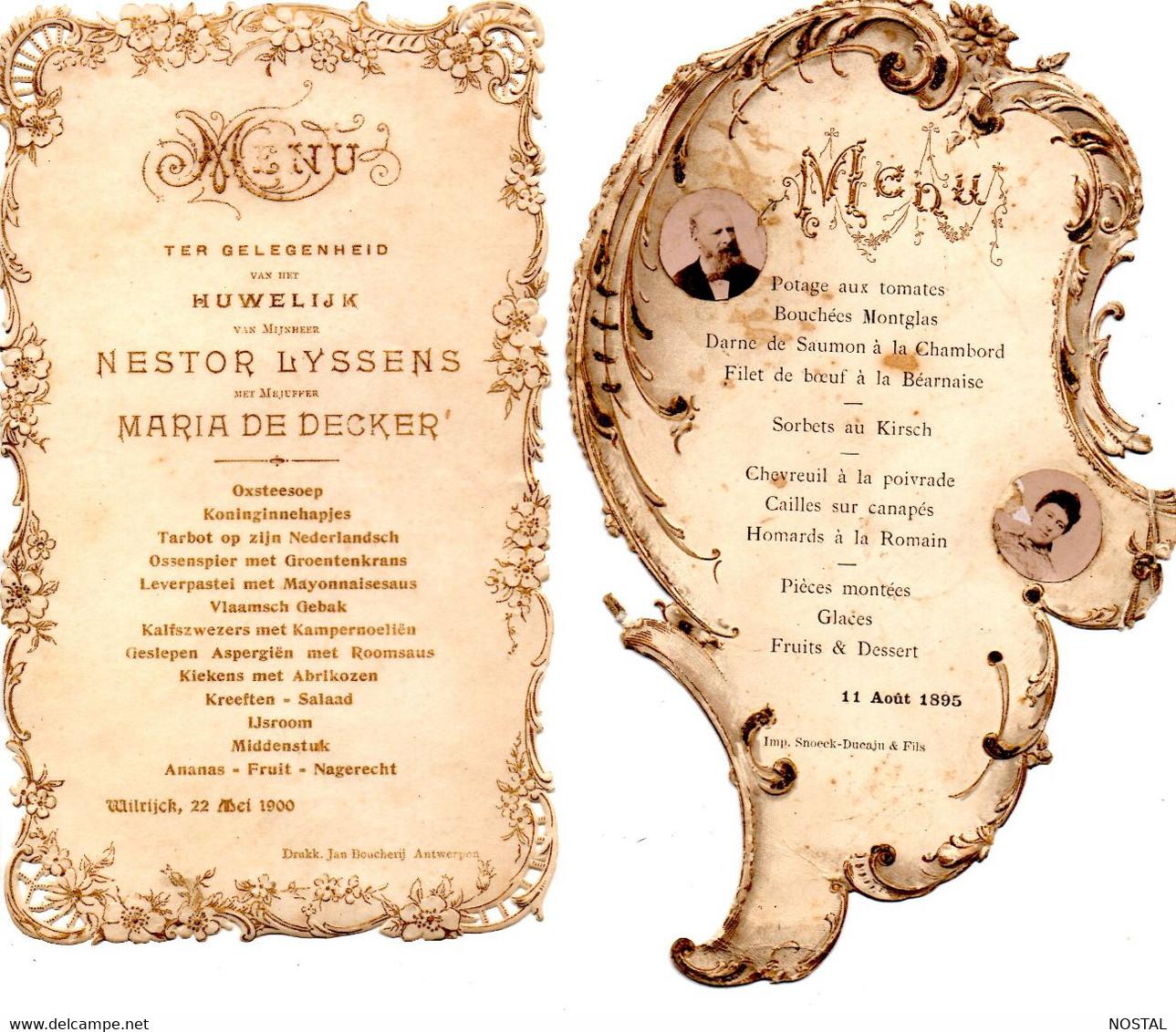 2 Menus 1895 - 1900 - Menus