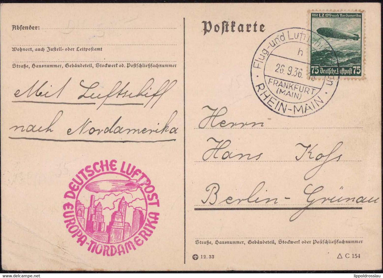 Gest., Brief LZ 129 Nordamerikafahrt Auflieferung Frankfurt Sieger 439B, Eckknicke - Dirigibili