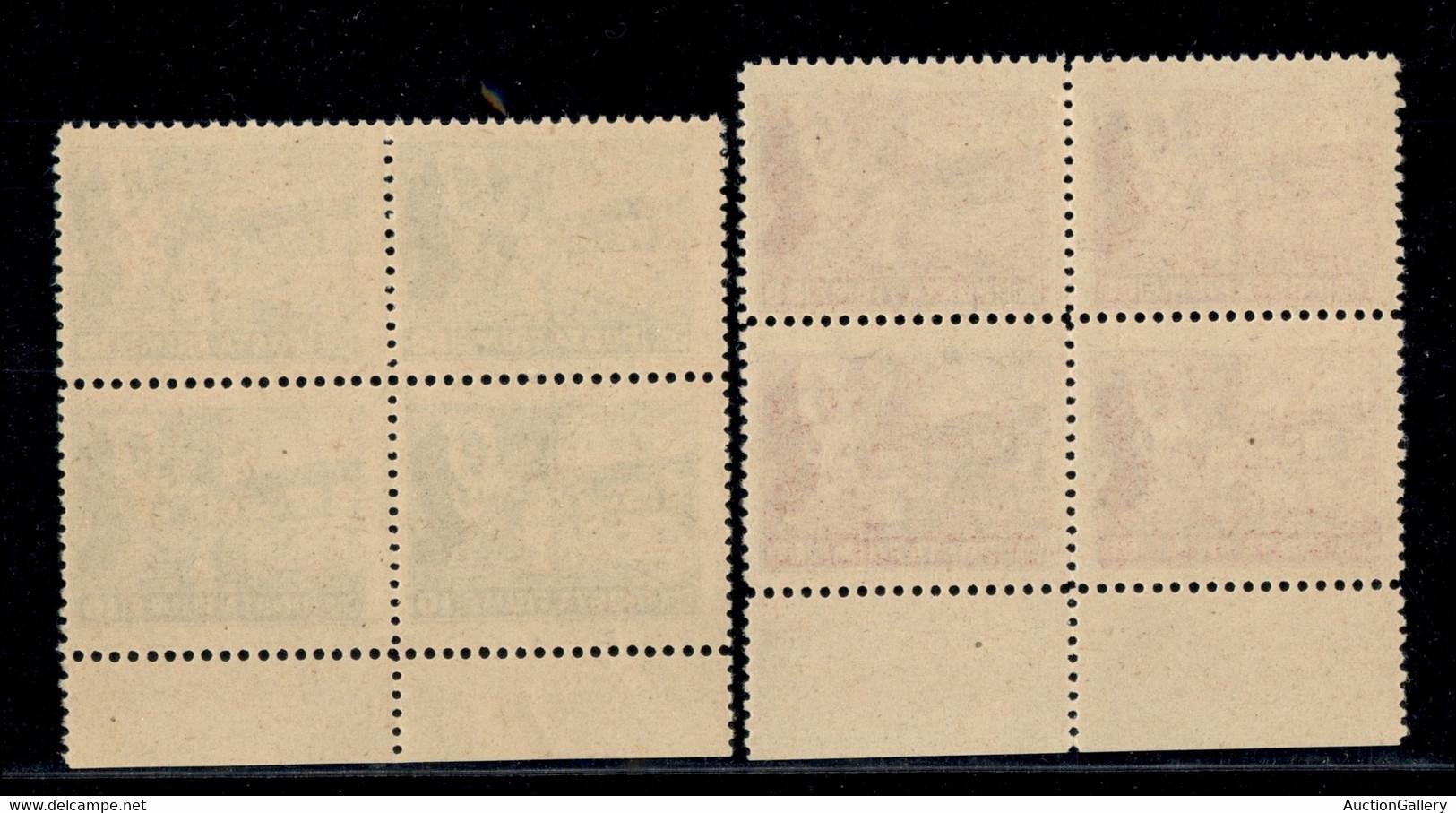 OCCUPAZIONI I GUERRA MONDIALE - Fiume - 1919 - Posta Fiume (49/56) - Serie Completa In Quartine Bordo Di Foglio - Gomma  - Non Classificati