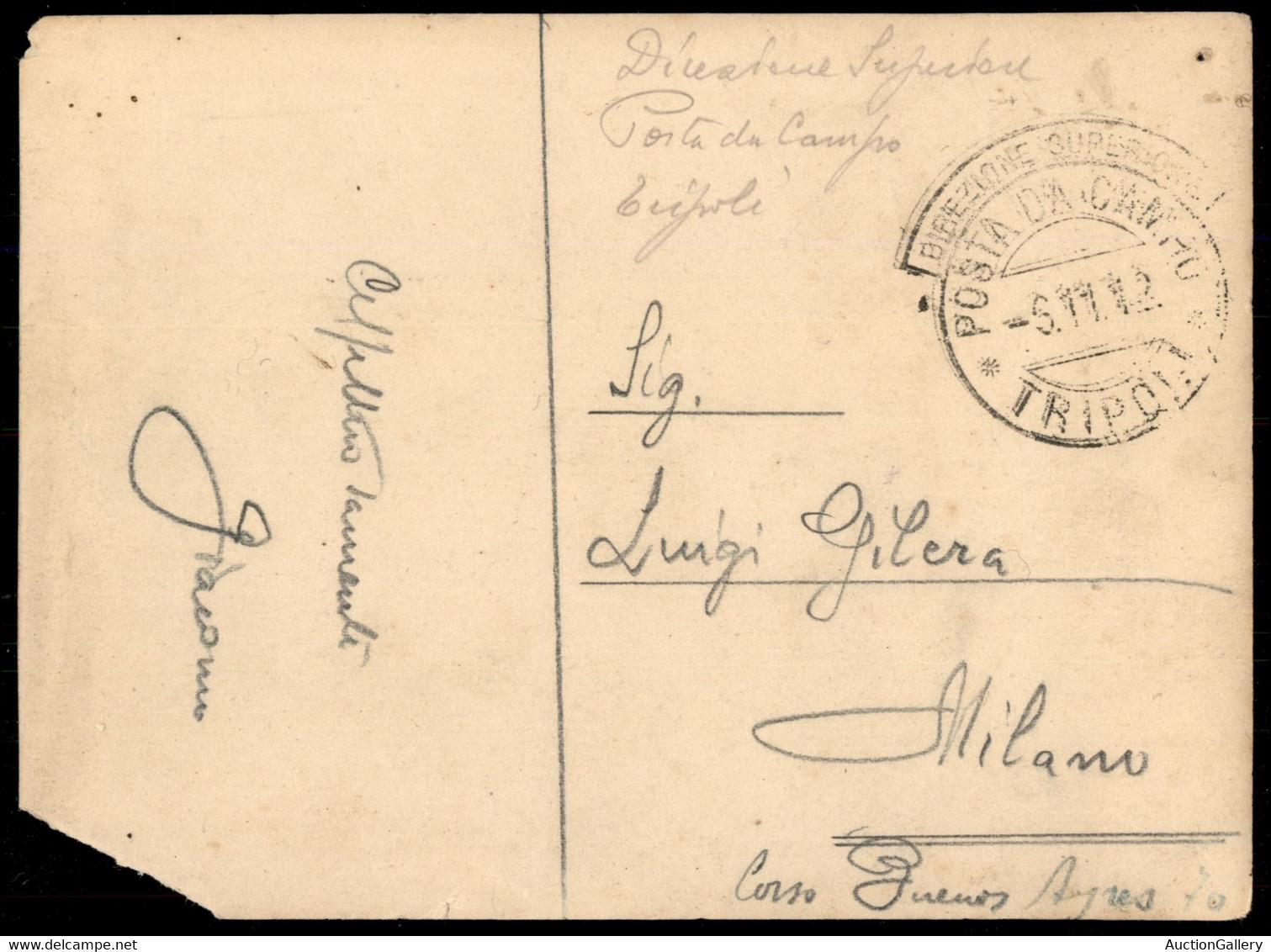 COLONIE - Libia - Direzione Superiore/Poste Da Campo/Tripoli 6.11.12 - Cartolina (fotografica) In Franchigia Per Milano  - Non Classificati