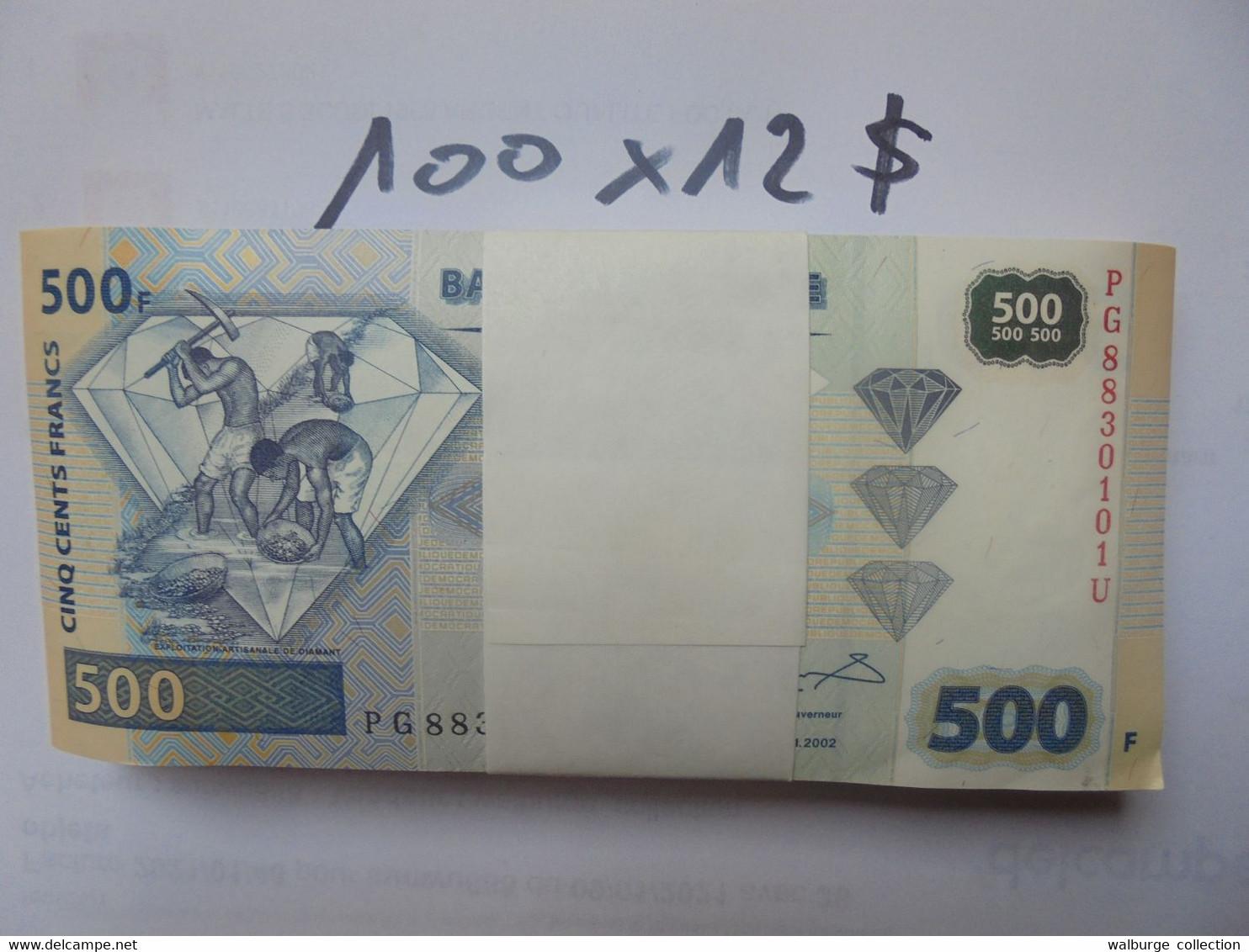 CONGO LIASSE 500 FRANCS 2002 100 BILLETS NEUFS NUMEROS SE SUIVANT COTE:1200$ !!! - Demokratische Republik Kongo & Zaire