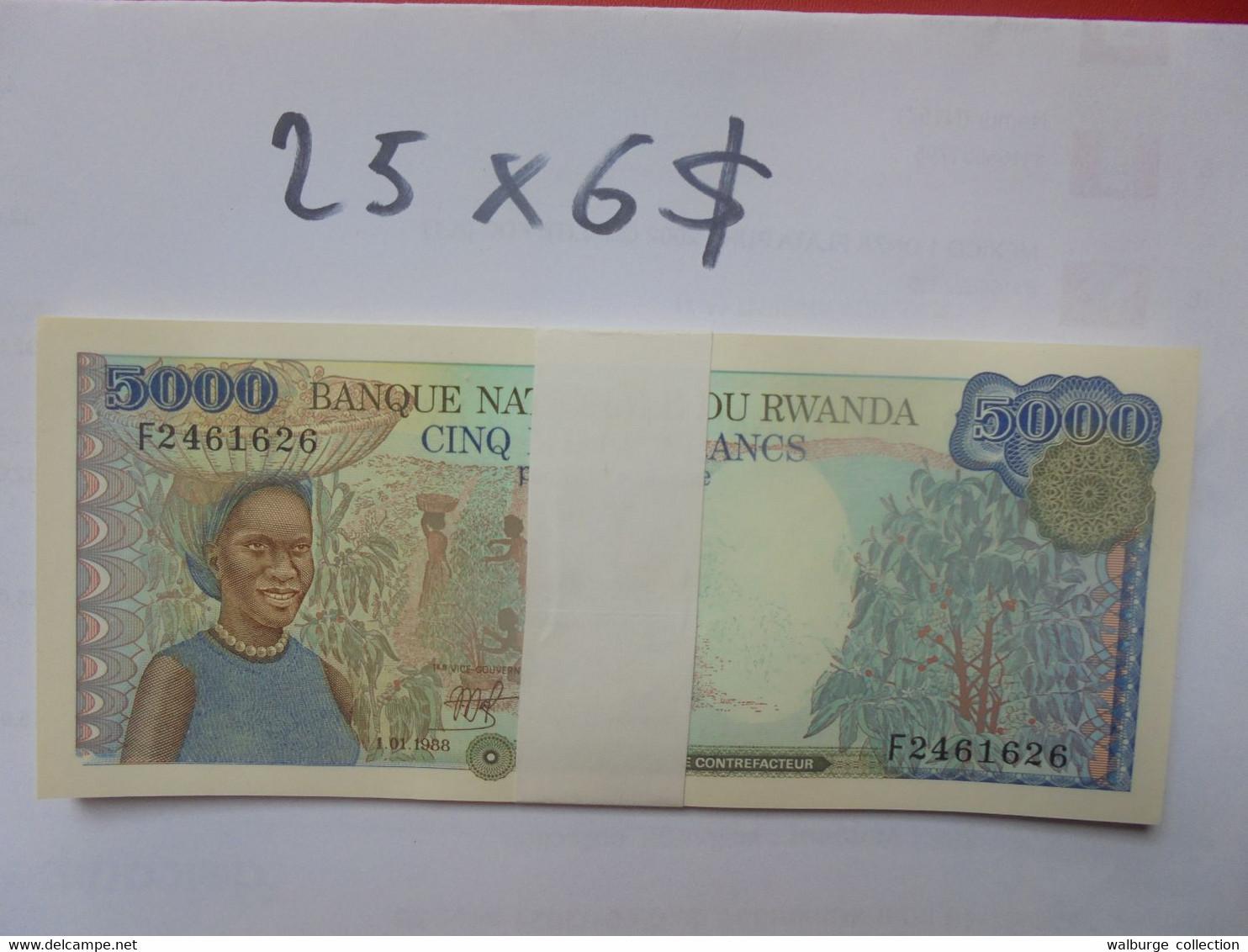 RWANDA LIASSE 5000 FRANCS 1988 25 BILLETS NEUFS NUMEROS SE SUIVANT COTE:150$ !!! - Rwanda