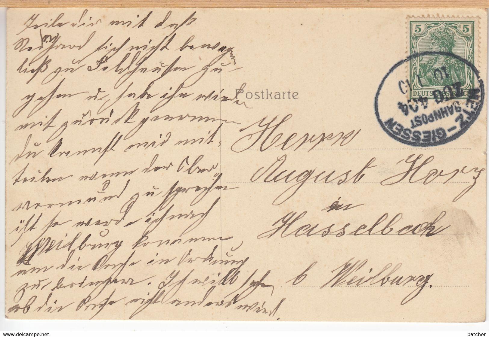 Aumenau (Lahn, Limburg, Weilburg, Villmar) Restauration Hickmann, Bahngelände, Bahnpost 1910 - Weilburg