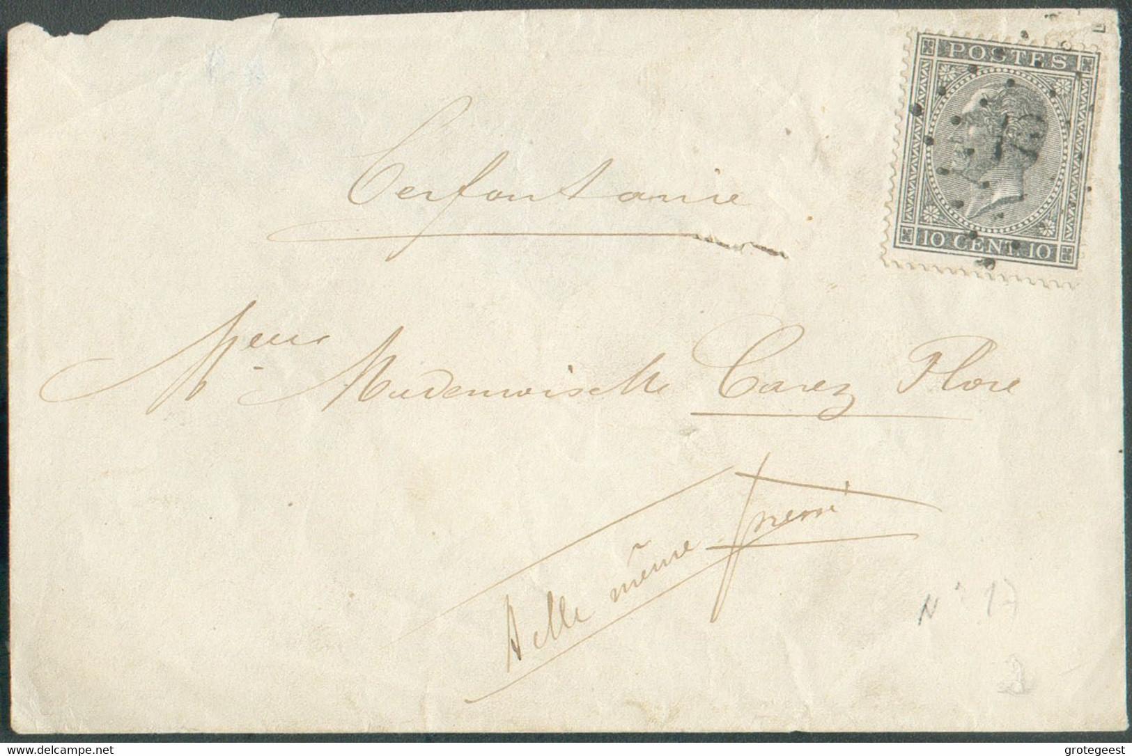 N°17 - Léopold Ier 10 Centime Gris Obl. LP.75 Sur Enveloppe De CERFONTAINE (curiosité : Pas De Càd De Départ Mais Une G - 1865-1866 Profiel Links