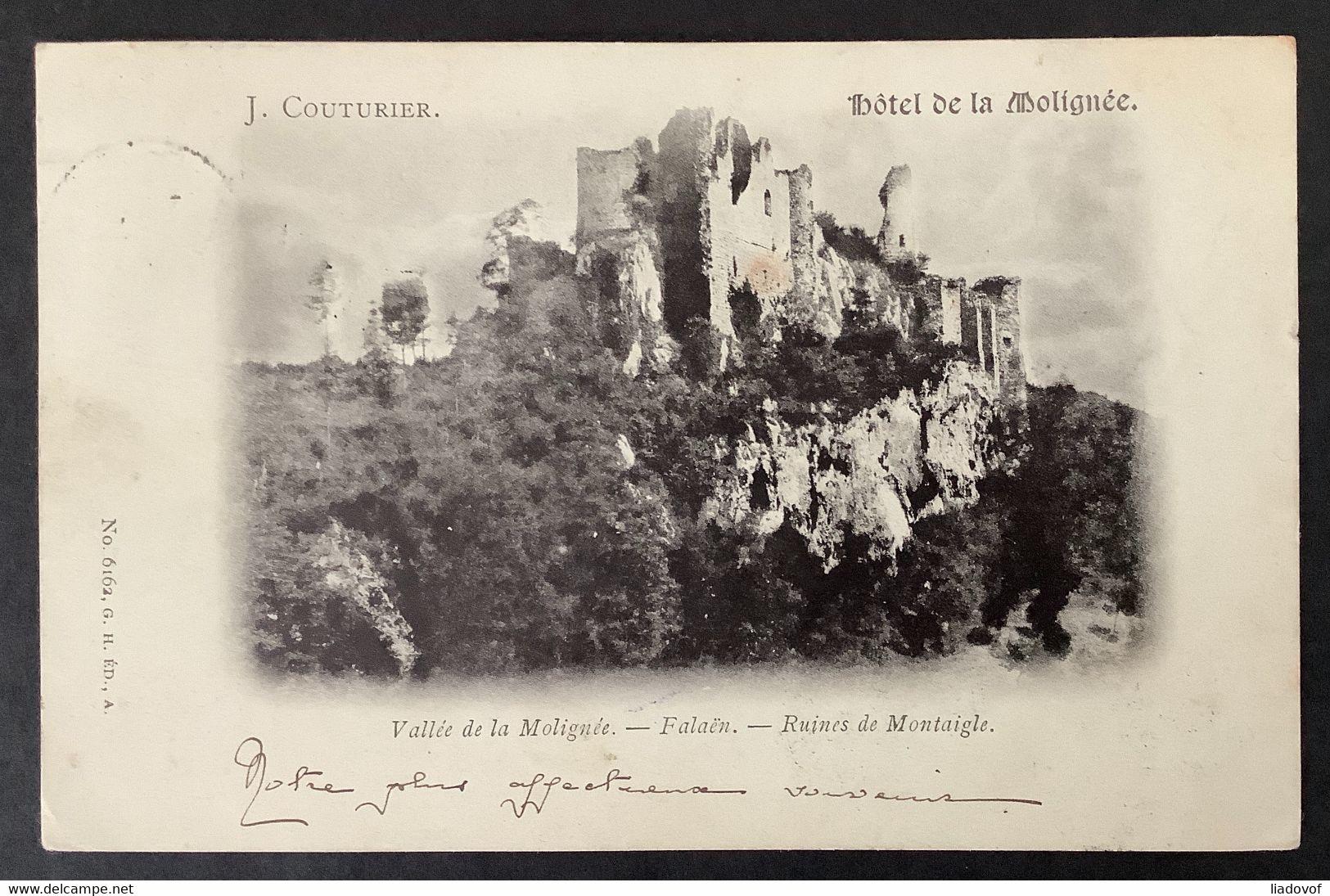 OBP 56 Op Postkaart FALAEN RELAIS 6 SEPT 1900 - Bruxelles Arrivee 00 / Hotel De La Molignee (Falaen) - 1893-1907 Stemmi