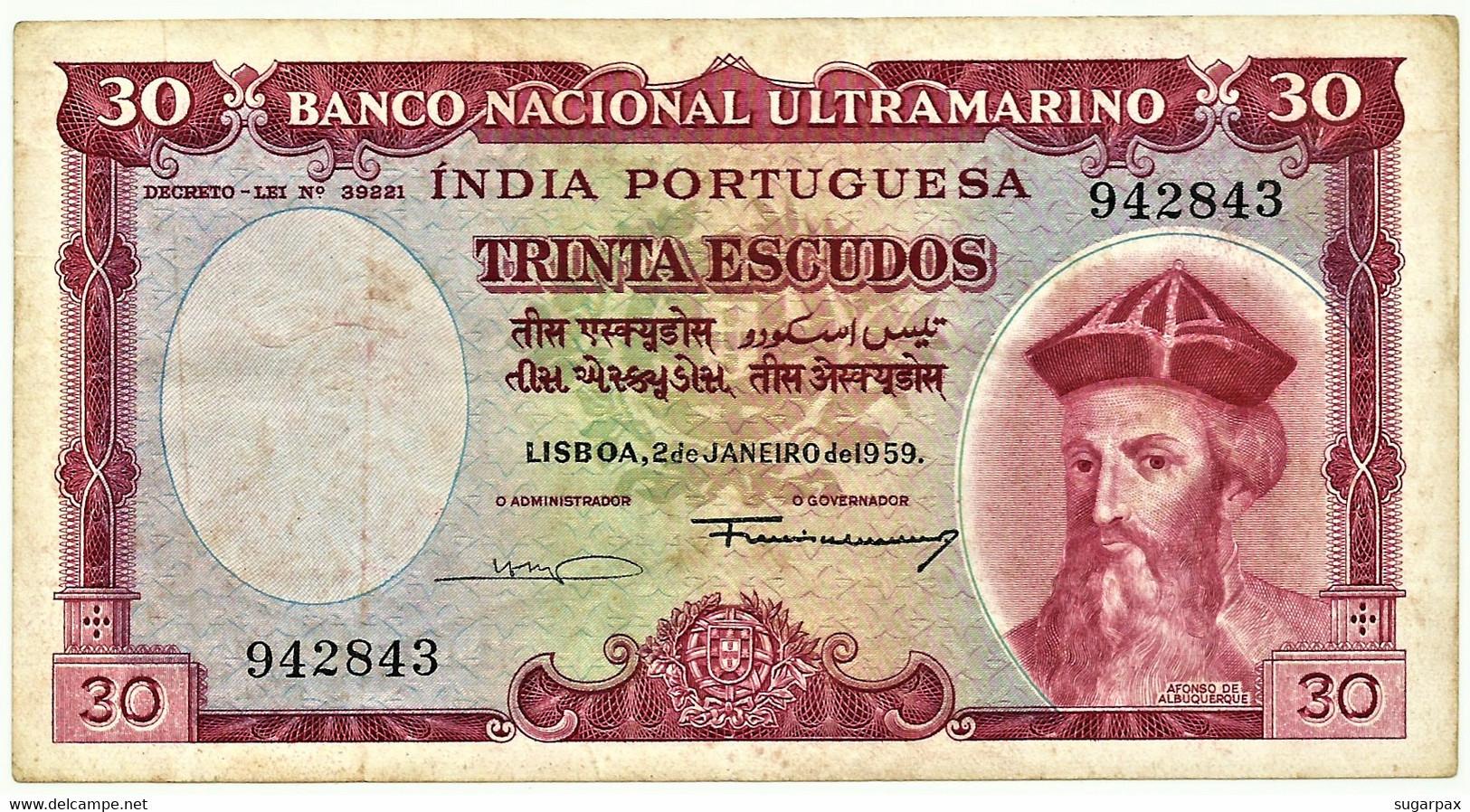 Portuguese INDIA - 60 Escudos - 02.01.1959 - Pick 42 - 6 Digit - Afonso De Albuquerque - Altri – Asia