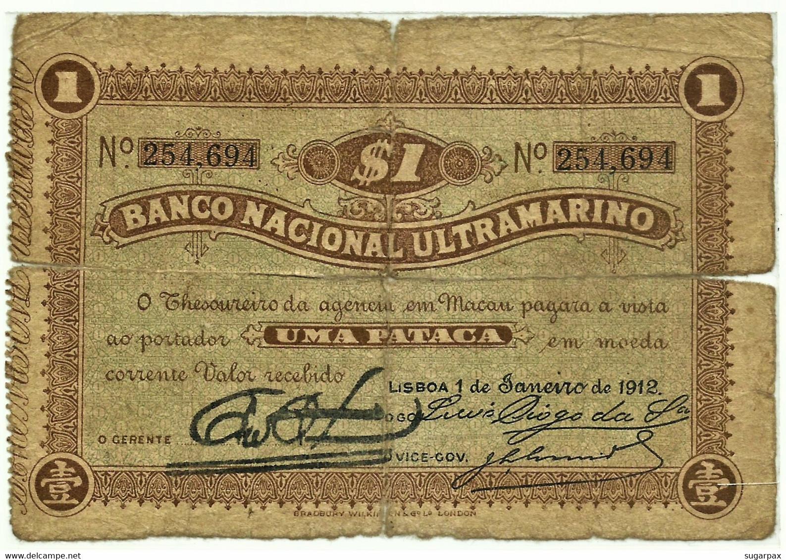 MACAU - 1 Pataca - 01.01.1912 - Pick 7 - Very Very RARE - PORTUGAL - Macau