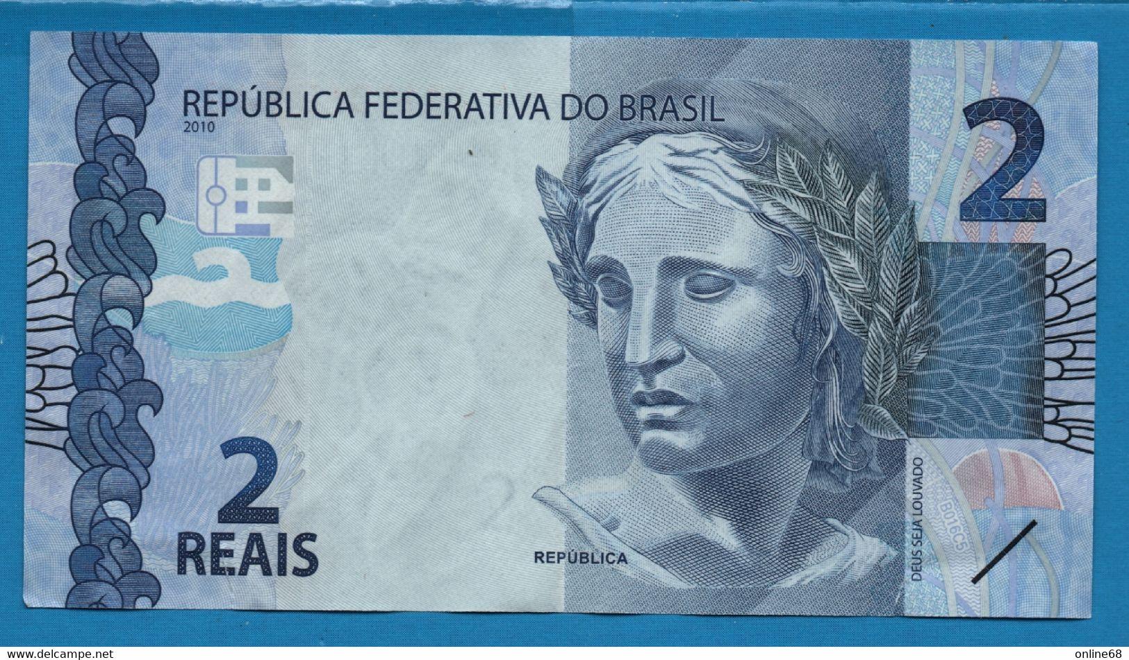 BRASIL 2 REALS 2010 # GJ011062242 P# 252f  Sea Turtle Tortue - Brazil