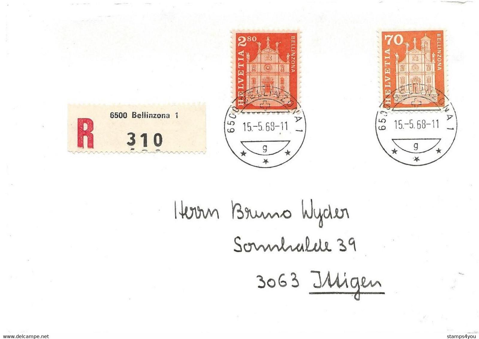 """215 - 5 - Enveloppe  Recommandée Avec Timbres """"Bellinzona"""" Et Cachet à Date Bellinzona 1968 - Cartas"""
