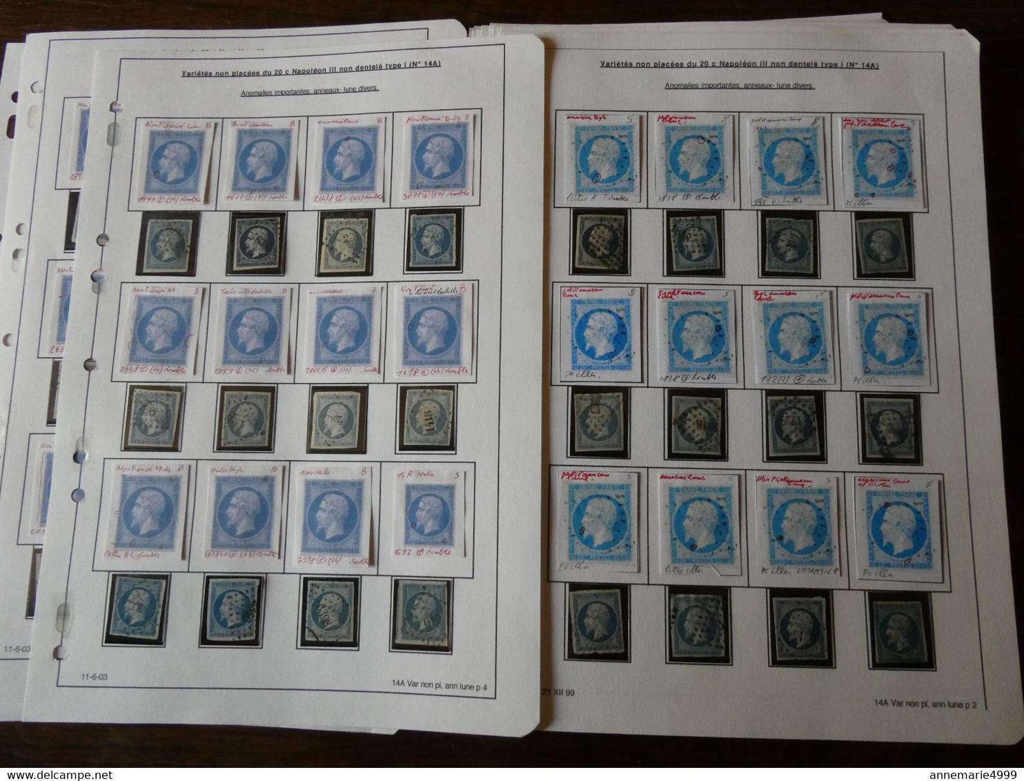 FRANCE ,plus De 300 Exemplaires Du N° 14 étudiés Par Un Spécialiste Qui A Relevé Les Anomalies - 1853-1860 Napoléon III.