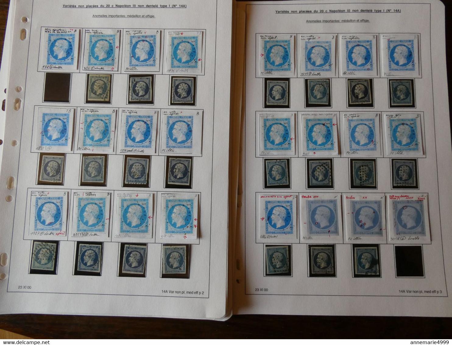 FRANCE ,plus De 300 Exemplaires Du N° 14 étudiés Par Un Spécialiste Qui A Relevé Les Anomalies - 1853-1860 Napoleon III