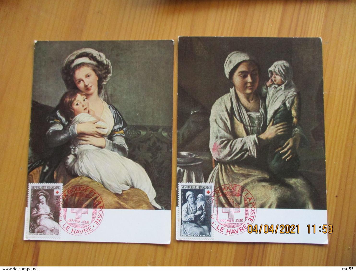 Croix Rouge Lot De 2 , Retour Bapteme Et Visee Lebrun Le Havre Cm Carte Maximum - 1950-59