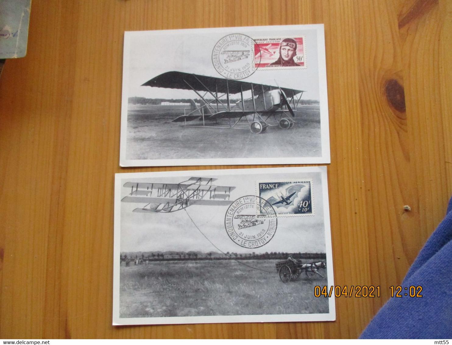 1959 Lot De 2 Le Crotoy Cinquantenaire 1 Er Vol  Freres Caudron Obliteration Carte - 1921-1960: Moderne