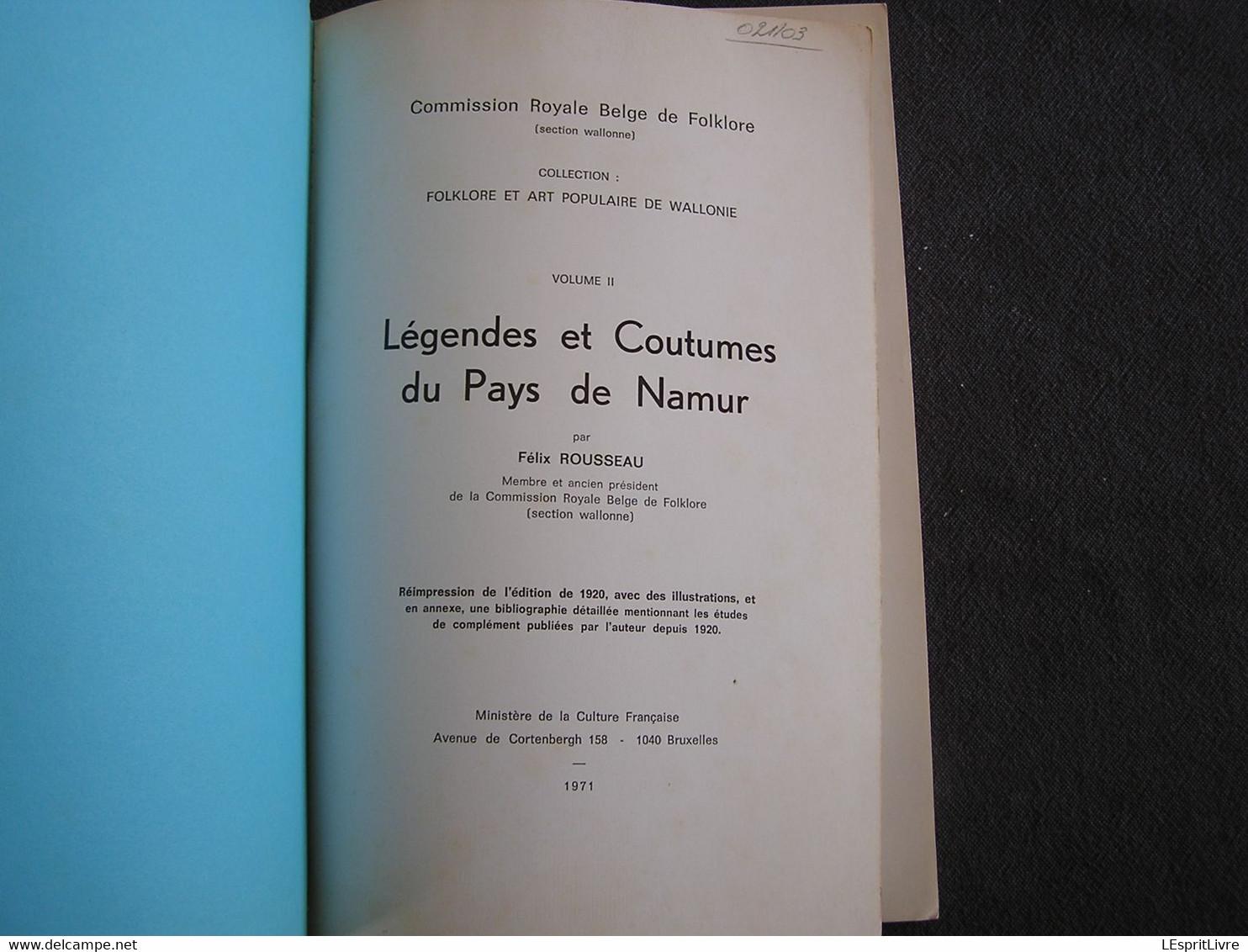 LEGENDES ET COUTUMES DU PAYS DE NAMUR 2 Régionalisme Folklore Légende Anhée Bohan Fées Fagnolle Aymon Velaine Senenne - Bélgica