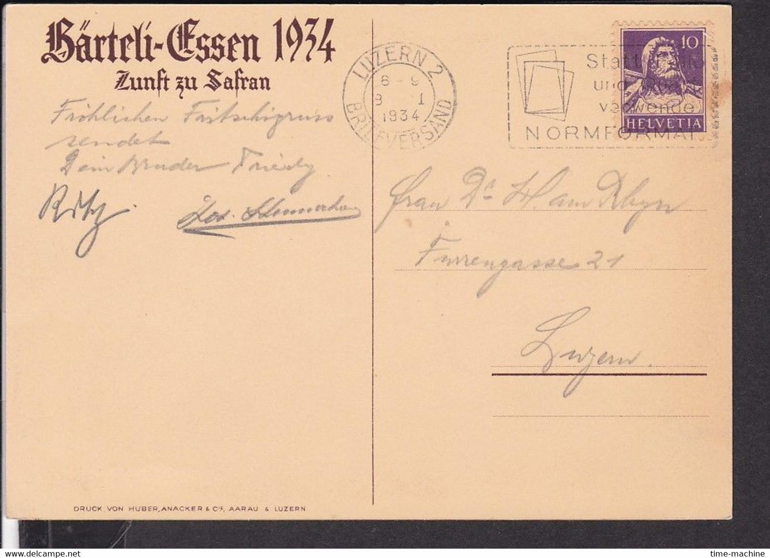 Künstlerpostkarte Luzern Zunft Zu Safran , Bärteli - Essen , Fasnacht  1934 - LU Lucerne