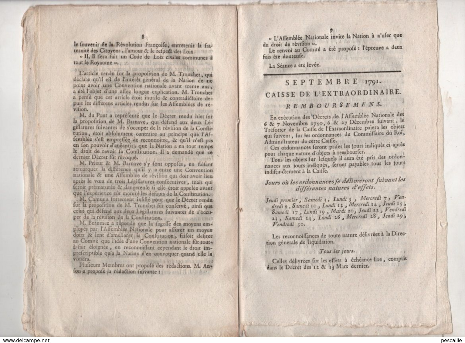 REVOLUTION FRANCAISE ASSEMBLEE NATIONALE - JOURNAL DES DEBATS 02 09 1791 - GARDES FORESTIERS / INSPECTEURS ... - Newspapers - Before 1800