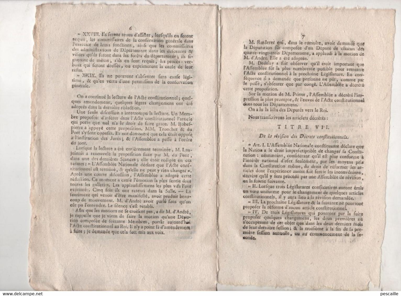 REVOLUTION FRANCAISE - JOURNAL DES DEBATS 03 09 1791 - MILITAIRES PONDICHERY ILE DE FRANCE  ( MAURICE ) - BOIS & FORETS - Newspapers - Before 1800