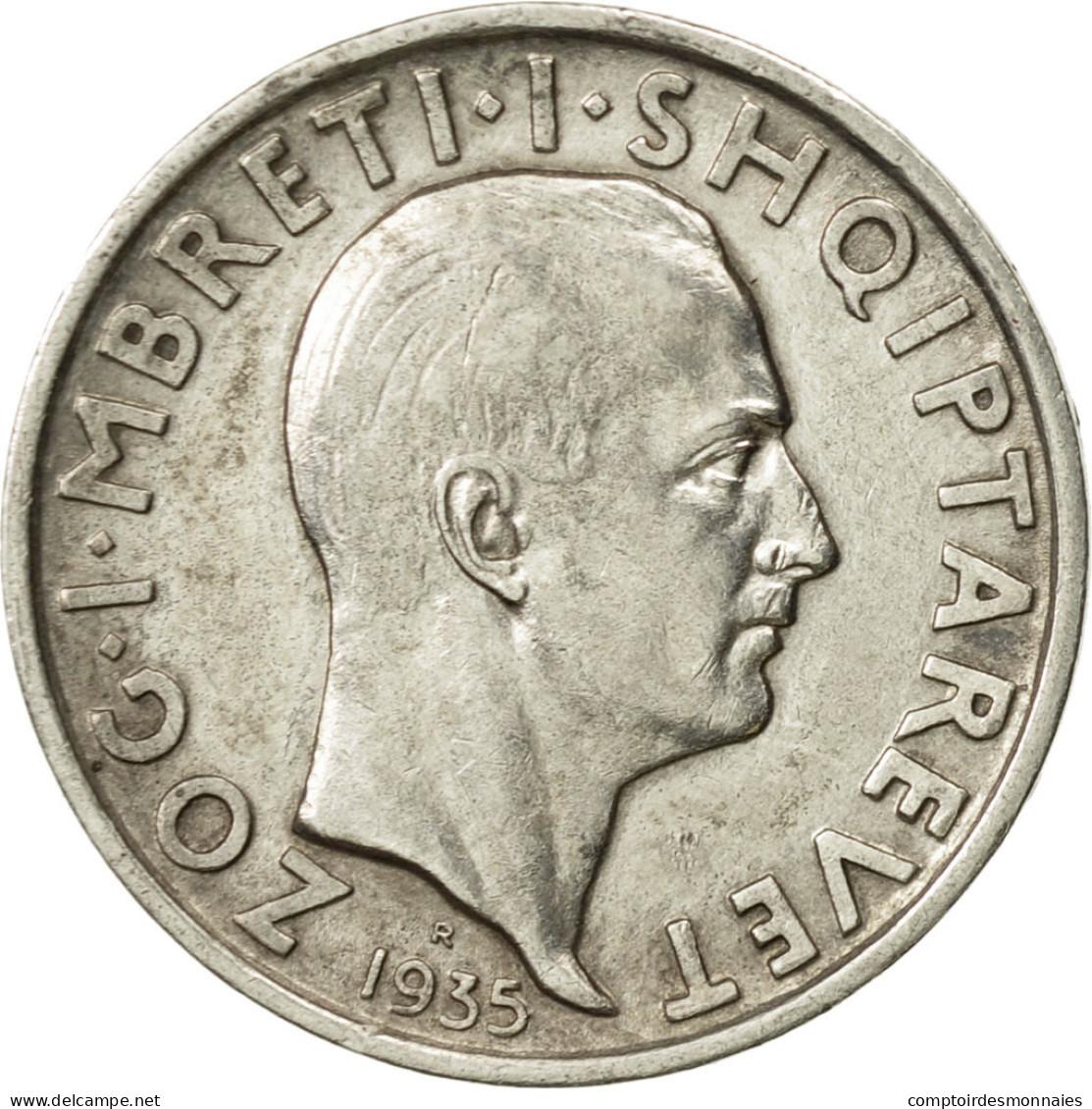 Monnaie, Albania, Zog I, Frang Ar, 1935, Rome, TTB+, Argent, KM:16 - Albania